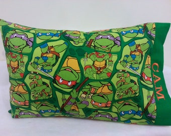 TODDLER / TRAVEL Personalized Pillow Case made with TMNT Teenage Mutant Ninja Turtles Fabric | Daycare Pillow | Preschool Pillow