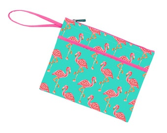 Personalized Zip Pouch | Flamingo Bikini Bag | Bridesmaid Gift | Maid of Honor | Retirement Gift | Make up Bag