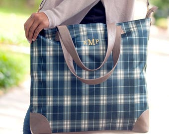 Monogrammed Middleton Plaid Shoulder Bag Personalized | Travel Bag | Overnight Bag | Bridesmaid Gift | Maid of Honor