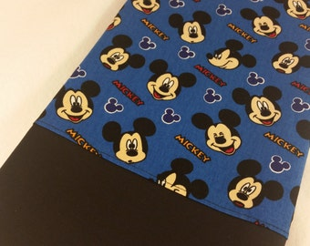 STANDARD Personalized Pillow Case made with Mickey Mouse on Blue Fabric