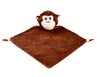 Personalized Monkey Lovey | Valentine Gift | New Baby Gift Idea | Animal Blanket | Security Blanket | Adoption Day Gift