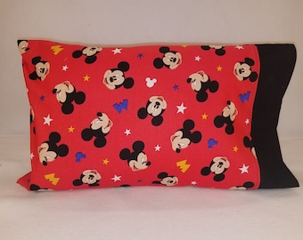 Toddler / Travel Personalized Pillow Case made with Mickey Mouse on Red | Daycare Pillow | Preschool Pillow