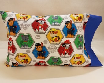 TODDLER/TRAVEL Personalized Pillow Case made with Paw Patrol Fabric