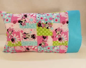 TODDLER / TRAVEL Personalized Pillow Case made with Minnie Mouse Fabric | Daycare Pillow | Preschool Pillow