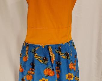 Ladies Reversible Apron | One Size | Fall Print | Pumpkins | Autumn Leaves