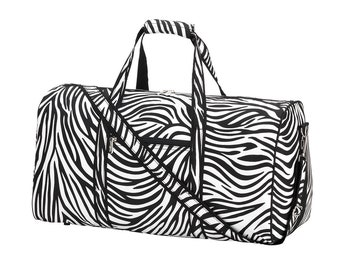 Personalized Duffel Bag | Personalized Zebra Duffel Bag | Travel Carry on Bag | Gym Bag | Cheerleader Travel Bag | Dog Show Bag
