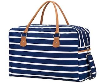 Personalized Navy Stripe Travel Bag | Overnight Bag Personalized | Carry on Travel Bag | Maid of Honor | Tween Gift | Weekender | Bridesmaid