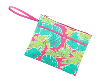 Personalized Tropical Zip Pouch   Bikini Bag   Bridesmaid Gift   Maid of Honor   Retirement Gift   Make up Bag
