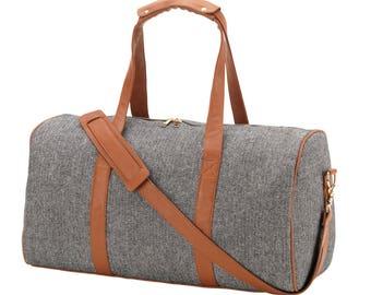 Monogrammed Townsend Herringbone Duffel Bag   Overnight Bag Personalized   Carry on Travel Bag    Retirement Gift   Cheerleader Bag