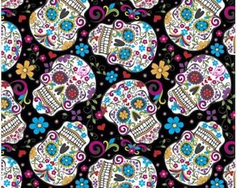 Cotton Fabric Sugar Skulls | Folkloric Skull Print Fabric | 100% Cotton | Fabric for Mask | Quilt Fabric | DT28882C3