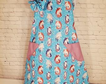 Child's Apron | Girls Apron | Size 7 - 8 | Made with Unicorn Print Fabric