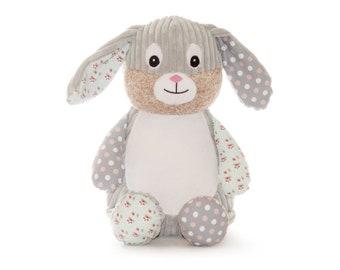 Big Sister | Big Brother Stuffed Rabbit | Easter Rabbit | Ring Bearer | Flower Girl Gift |  | Harlequin Gray Rabbit | Adoption Day Gift