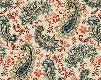 100% Cotton   Paisley Print on Cream Background Quilting Fabric   Fabric for Mask