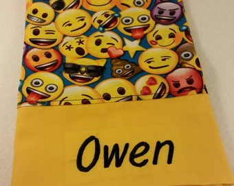 Standard Personalized Pillowcase made with Emoji Print Fabric