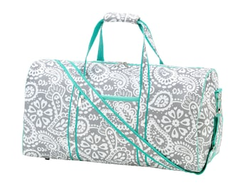 Monogrammed Parker Paisley Duffel Bag | Overnight Bag Personalized | Carry on Travel Bag | Maid of Honor | Cheerleader Bag