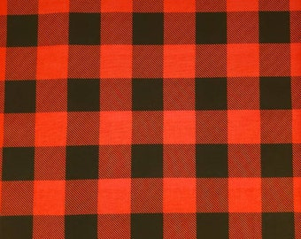 Cotton Fabric | 100% Cotton | Red Black Buffalo Plaid | Fabric for Mask