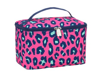 Personalized Cosmetic Bag | Bridesmaid Gift | Maid of Honor | Travel Makeup Case | Large Medicine Bag | Toiletry Bag | Hot Pink Leopard
