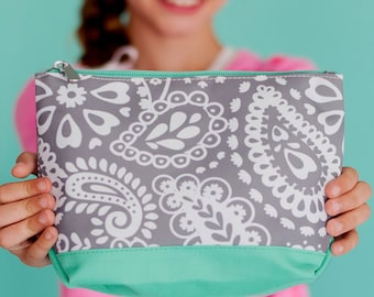 Monogrammed Cosmetic Bag | Parker Paisley | Makeup Bag | Tween Gift