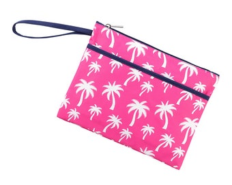 Personalized Hot Pink Palms Zip Pouch | Bikini Bag | Bridesmaid Gift | Maid of Honor | Retirement Gift | Make up Bag