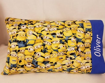 TODDLER / TRAVEL Personalized Pillow Case made with Minion Fabric | Daycare Pillow | Preschool Pillow