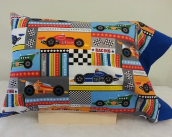 Car Racing Themed TODDLER / TRAVEL Personalized Pillow Case