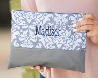 Personalized Ella Gray Zip Pouch Bag | Cosmetic Bag | Bridesmaid | Maid of Honor | Make up Bag