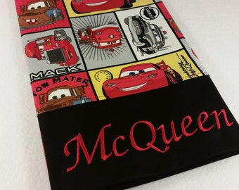 STANDARD Personalized Pillow Case made with Cars Block Fabric