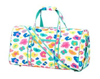 Personalized Duffel Bag | Personalized Fun Leopard Duffel Bag | Travel Carry on Bag | Gym Bag | Cheerleader Travel Bag | Dog Show Bag