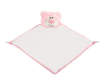 Personalized Pink Bear Lovey | Valentine Gift | New Baby Gift Idea | Animal Blanket | Security Blanket | Adoption Day Gift