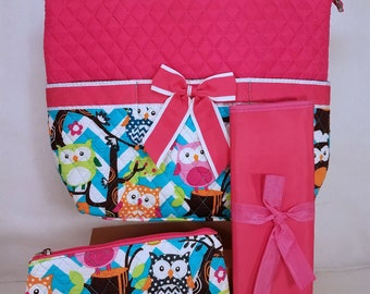 Personalized Diaper Bag | Personalized Diaper Bag | Pink Owl Diaper Bag | New Baby Gift | Baby Shower Gift