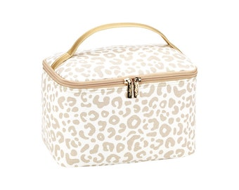 Personalized Cosmetic Bag | Bridesmaid Gift | Maid of Honor | Travel Makeup Case | Large Medicine Bag | Toiletry Bag | Natural Leopard