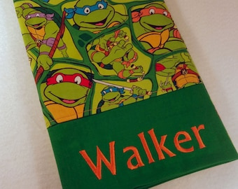 STANDARD Personalized Pillow Case made with TMNT Teenage Mutant Ninja Turtles Fabric