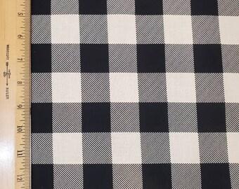 Cotton Fabric | 100% Cotton | Black and Cream Buffalo Plaid | Fabric for Mask