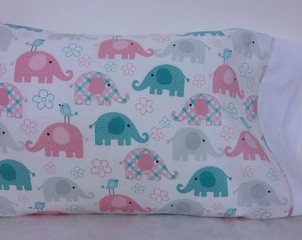 Toddler/Travel Personalized Pillow Case - Baby Elephants | Daycare Pillow | Preschool Pillow