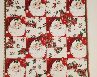 Reversible Quilted Table Centerpiece | Santa Table Runner | Christmas Table Centerpiece