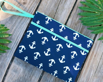 Personalized Anchors Zip Pouch | Bikini Bag | Bridesmaid Gift | Maid of Honor | Retirement Gift | Make up Bag