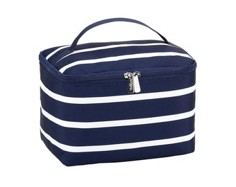 Personalized Cosmetic Bag | Bridesmaid Gift | Maid of Honor | Travel Makeup Case | Large Medicine Bag | Toiletry Bag | Navy Stripe