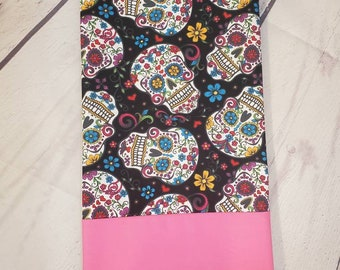 Standard Personalized Pillow Case made with Sugar Skulls Fabric