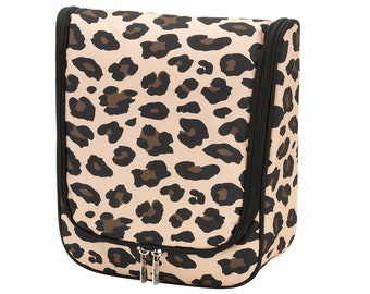 Personalized Hanging Toiletry Bag   Personalized Hanging Cosmetic Bag   Travel Toiletry Bag   Leopard Collection   Bridesmaid  