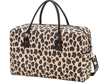 Personalized Leopard Travel Bag | Overnight Bag Personalized | Carry on Travel Bag | Maid of Honor | Tween Gift | Weekender | Bridesmaid