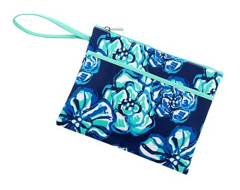 Personalized Maliblue Zip Pouch | Bikini Bag | Bridesmaid Gift | Maid of Honor | Retirement Gift | Make up Bag