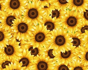 100% Cotton | Packed Sunflowers Quilting Fabric | Fabric for Mask