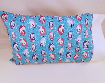 TODDLER / TRAVEL Personalized Pillow Case made with Unicorn Fabric | Daycare Pillow | Preschool Pillow