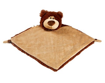 Personalized Brown Bear Lovey | Valentine Gift | New Baby Gift Idea | Animal Blanket | Security Blanket | Adoption Day Gift