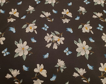 Cotton Fabric | 100% Cotton | White Flower on Black Fabric| Fabric for Mask | Floral Print