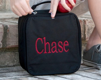 Monogrammed Black Lunch Cooler | Personalized Lunchbox