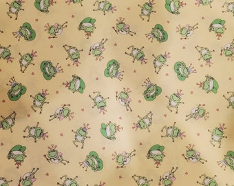 Frogs Cotton Fabric | 100% Cotton | Frogs on Yellow Background Fabric | Fabric for Mask