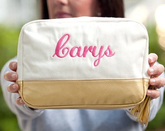 Personalized Cabana Makeup Bag | Creme Canvas Cabana | Bridesmaid | Teachers Gift | Vegan Leather | Winter Wedding | Mothers Day