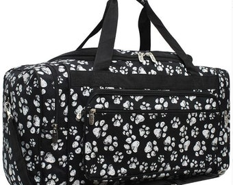 Personalized Paw Prints Duffel Bag | Travel Carry on Bag | Ring Bearer Gift | Gift for Dog Lovers | Dog Show Bag