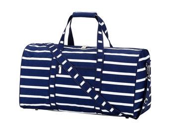 Personalized Duffel Bag | Personalized Navy Stripe Duffel Bag | Travel Carry on Bag | Gym Bag | Cheerleader Travel Bag | Dog Show Bag